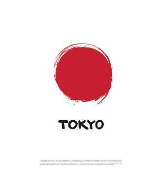 Flag of Japan and Tokyo inscription