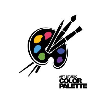 Art palette icon for print or logo. Vector illustration stock vector