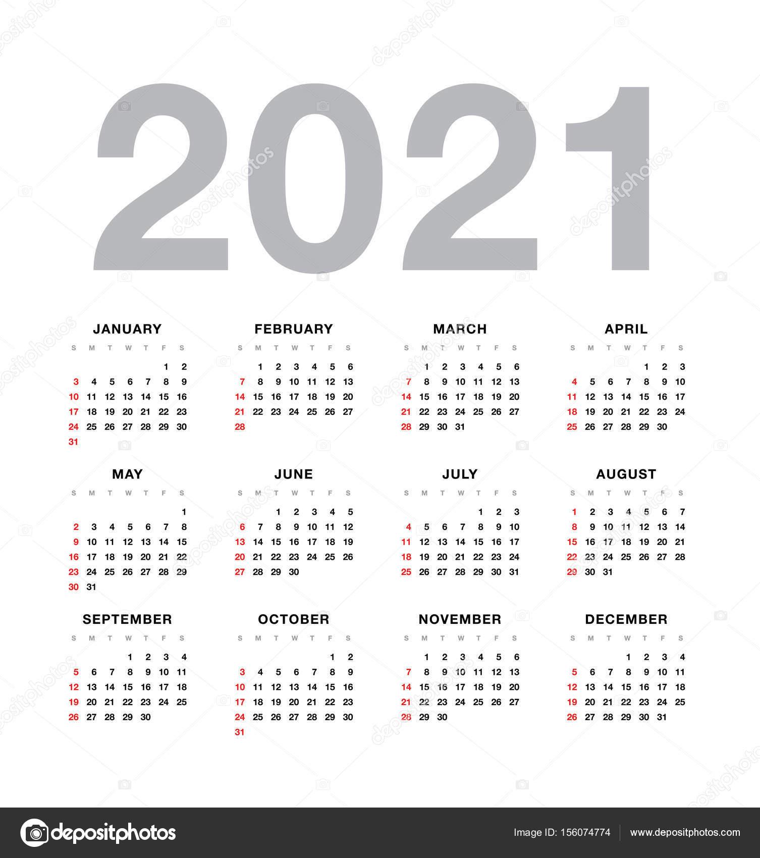 Wall calendar 2021 year design — Stock Vector © Igor_Vkv #156074774