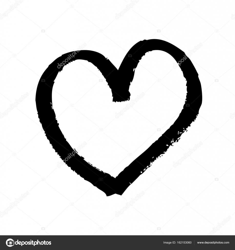 svart vit hjärta