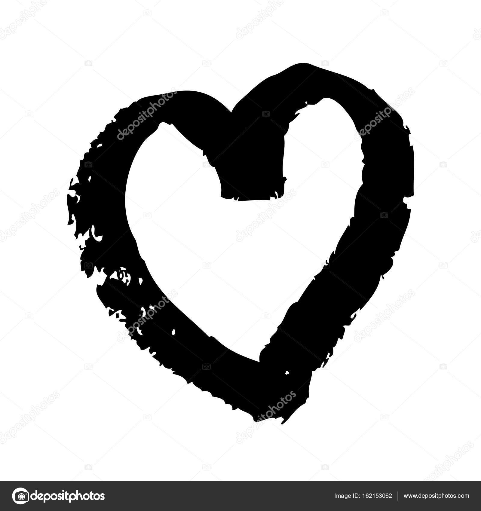 Image Coeur Noir Et Blanc coeur noir sur fond blanc — image vectorielle igor_vkv © #162153062