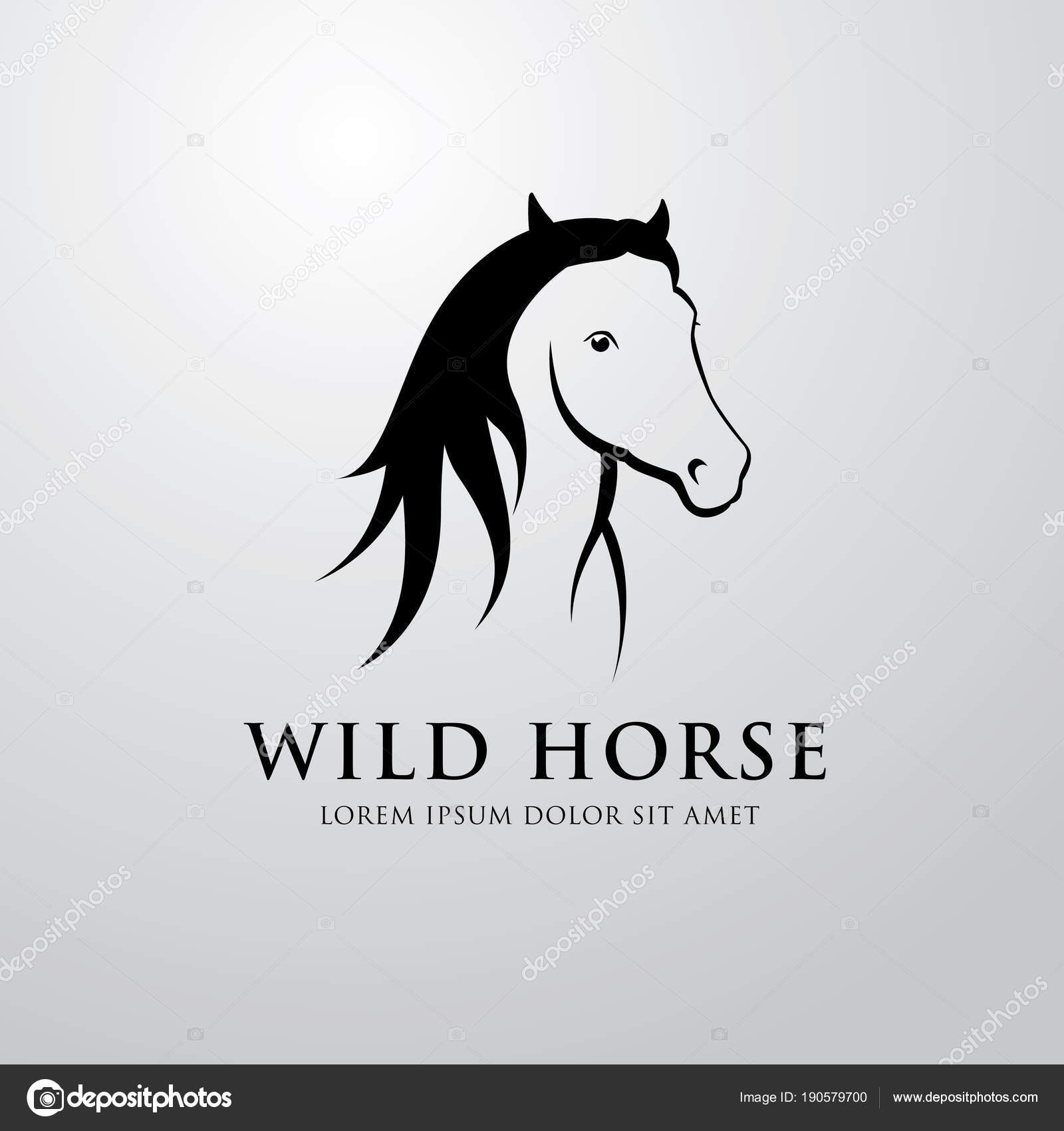 Wild Horse Emblem Gradient Grey Background Stock Vector C Igor Vkv 190579700