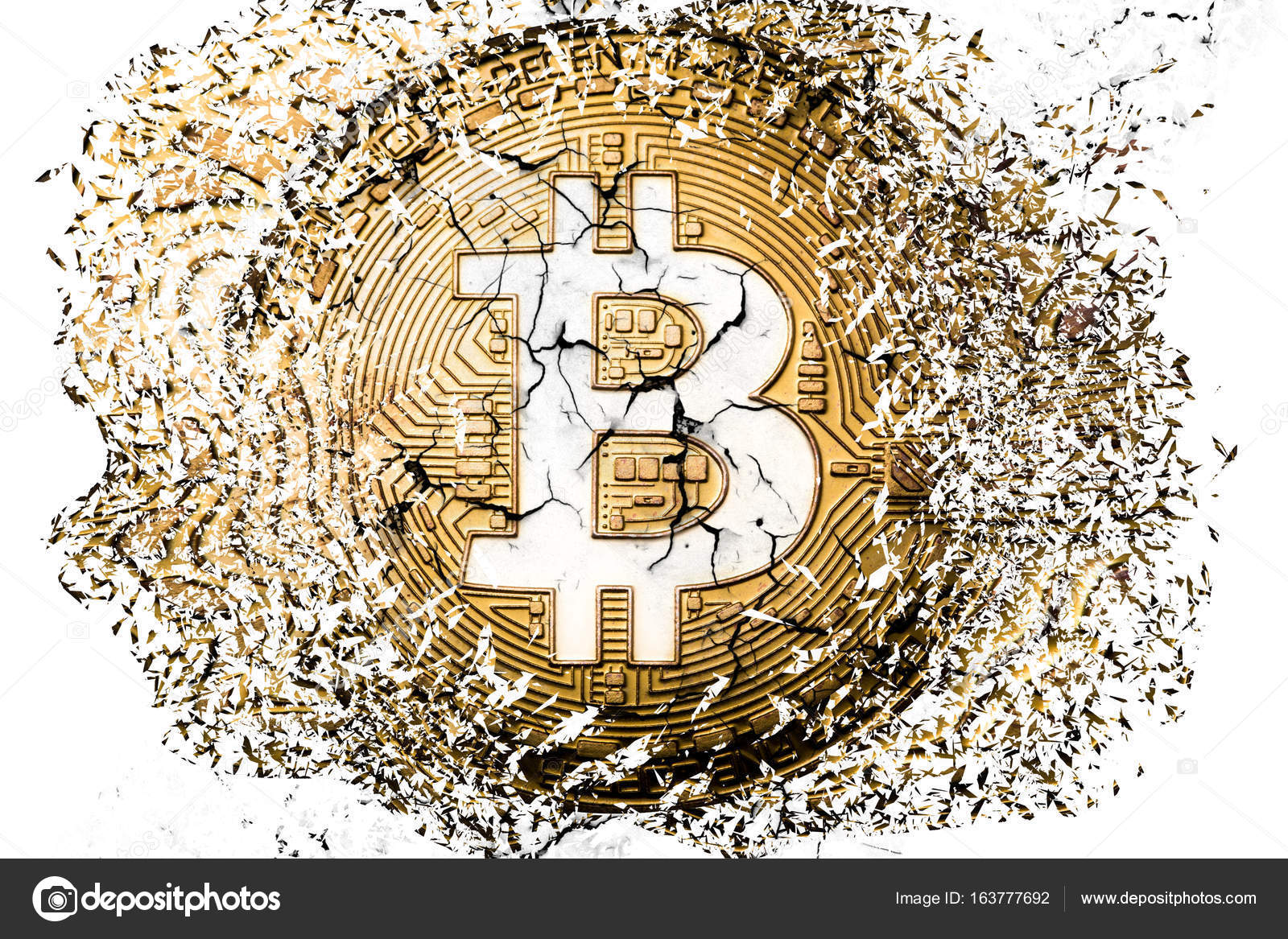 Bitcoin symbol explosion stock editorial photo primakov 163777692 bitcoin explosion and disintegration photo by primakov buycottarizona