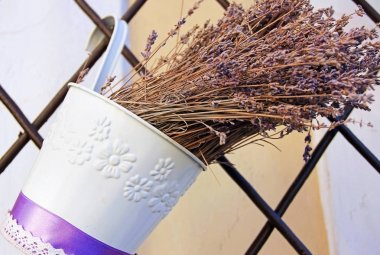 Lavender in a decorative bucket white, purple dried flowers,