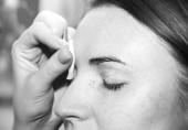 Photo Correction of eyebrow tweezers, eyebrow henna painting, beautifu