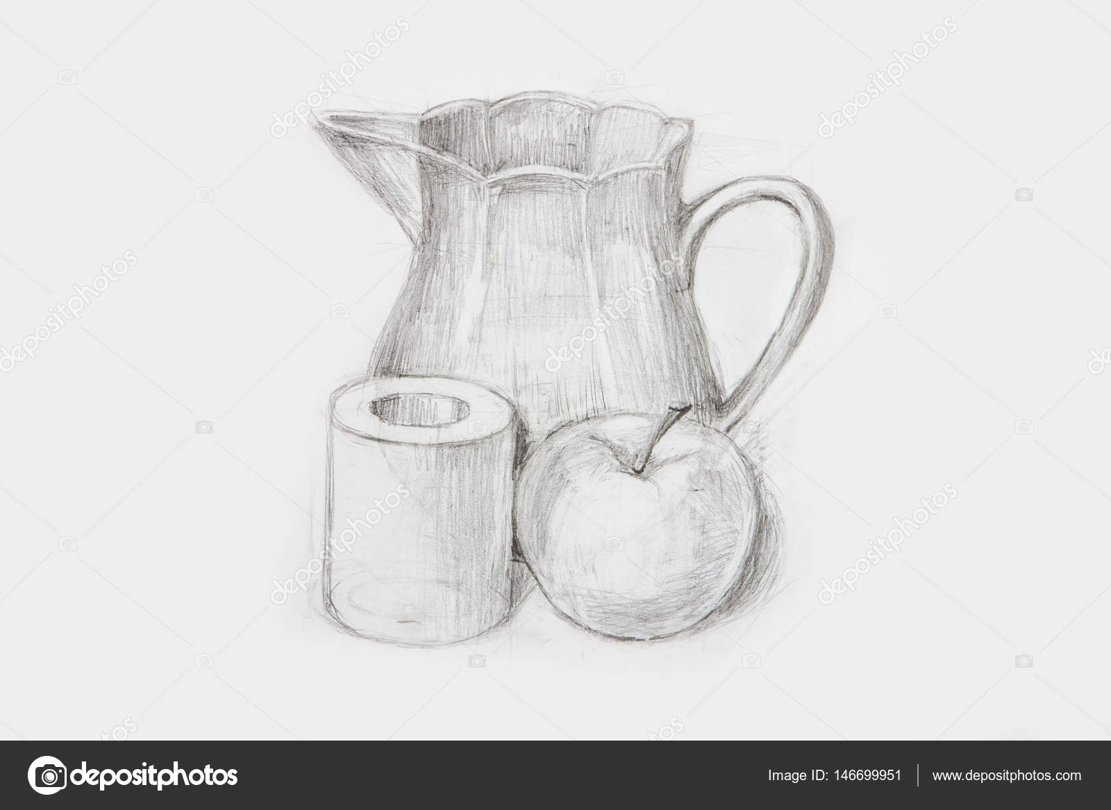 Pencil sketch drawing still life apple training and carafe stock photo