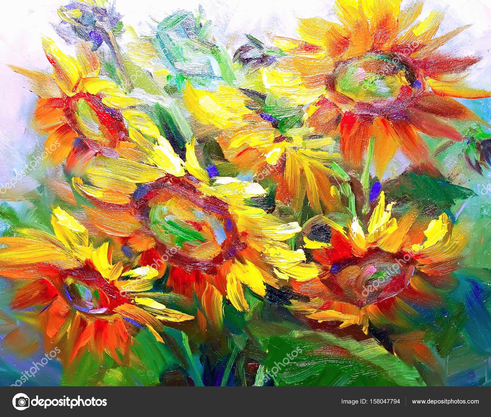 Easy Beautiful Flower Paintings Texture Oil Paintings