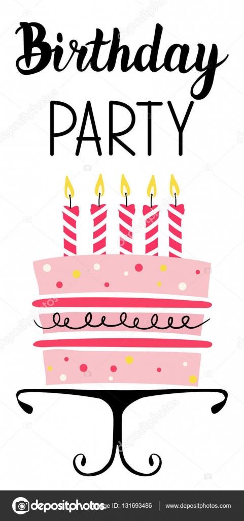 Geburtstagskarte Party mit Kuchen — Stockvektor © happiestsim