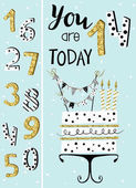 Photo Birthday card with cake , numbers of years
