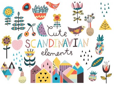 Set of cute scandinavian style elements.