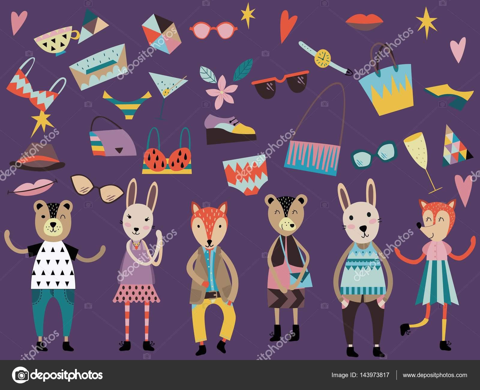 Juego de moda lindos animales y elementos de moda y accesorios ...