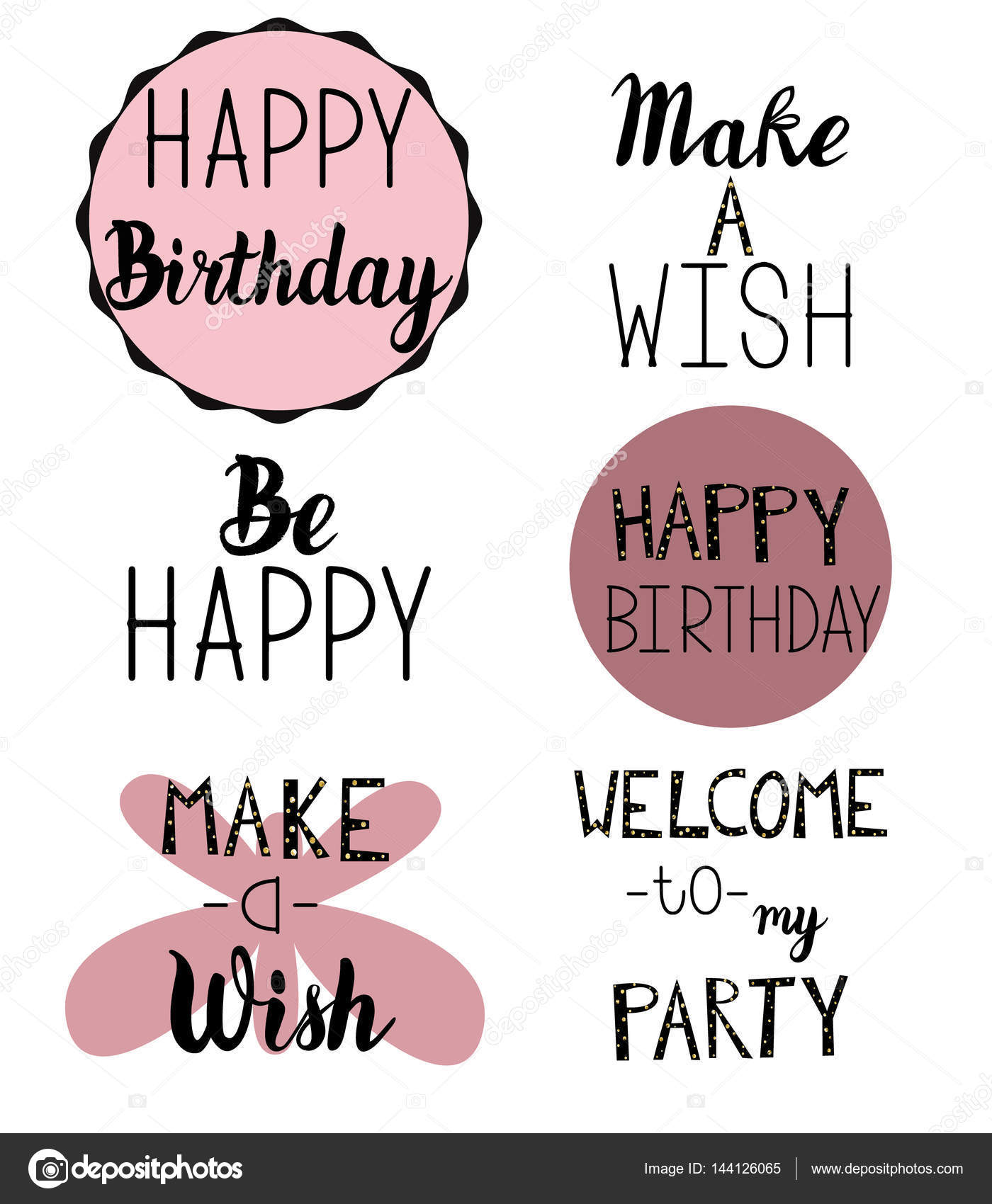 Gelukkige Verjaardag Groet Uitnodiging Tekst Stockvector
