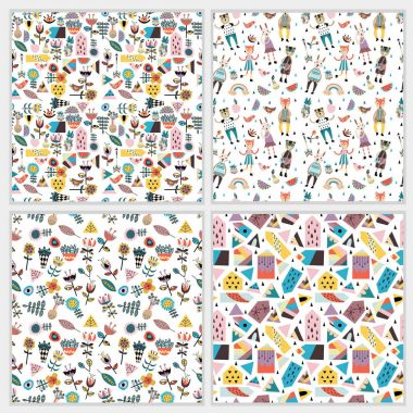 Seamless patterns with figures, flowers, leaves, animals, houses
