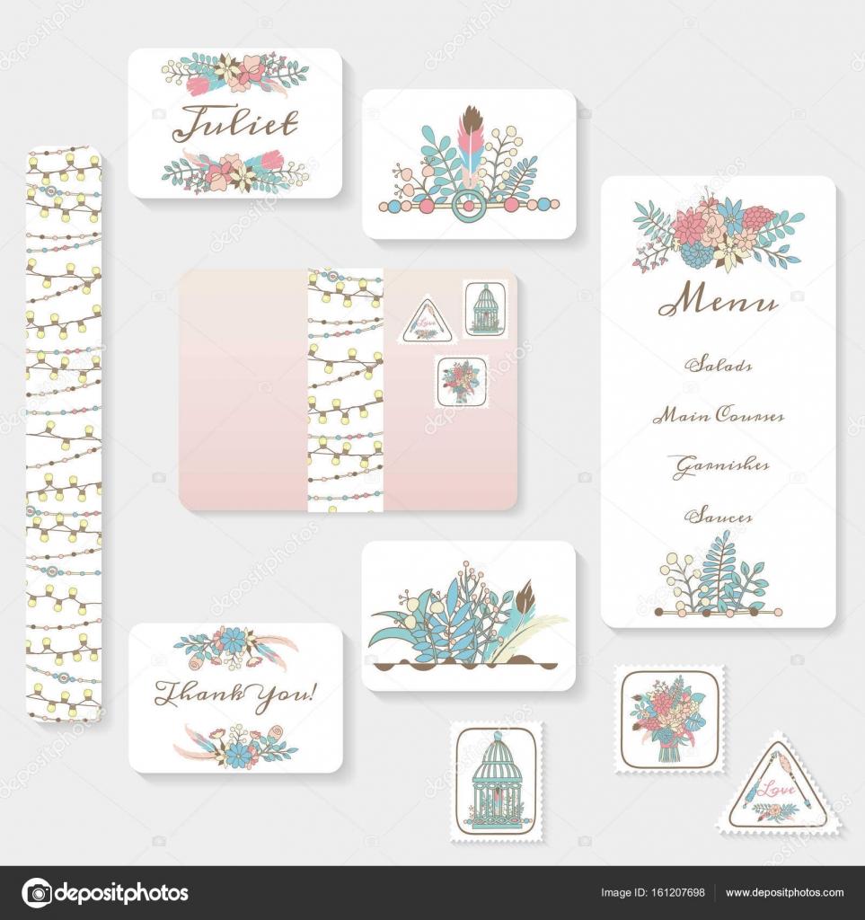 Wedding invitation cards suite — Stock Vector © happiestsim #161207698