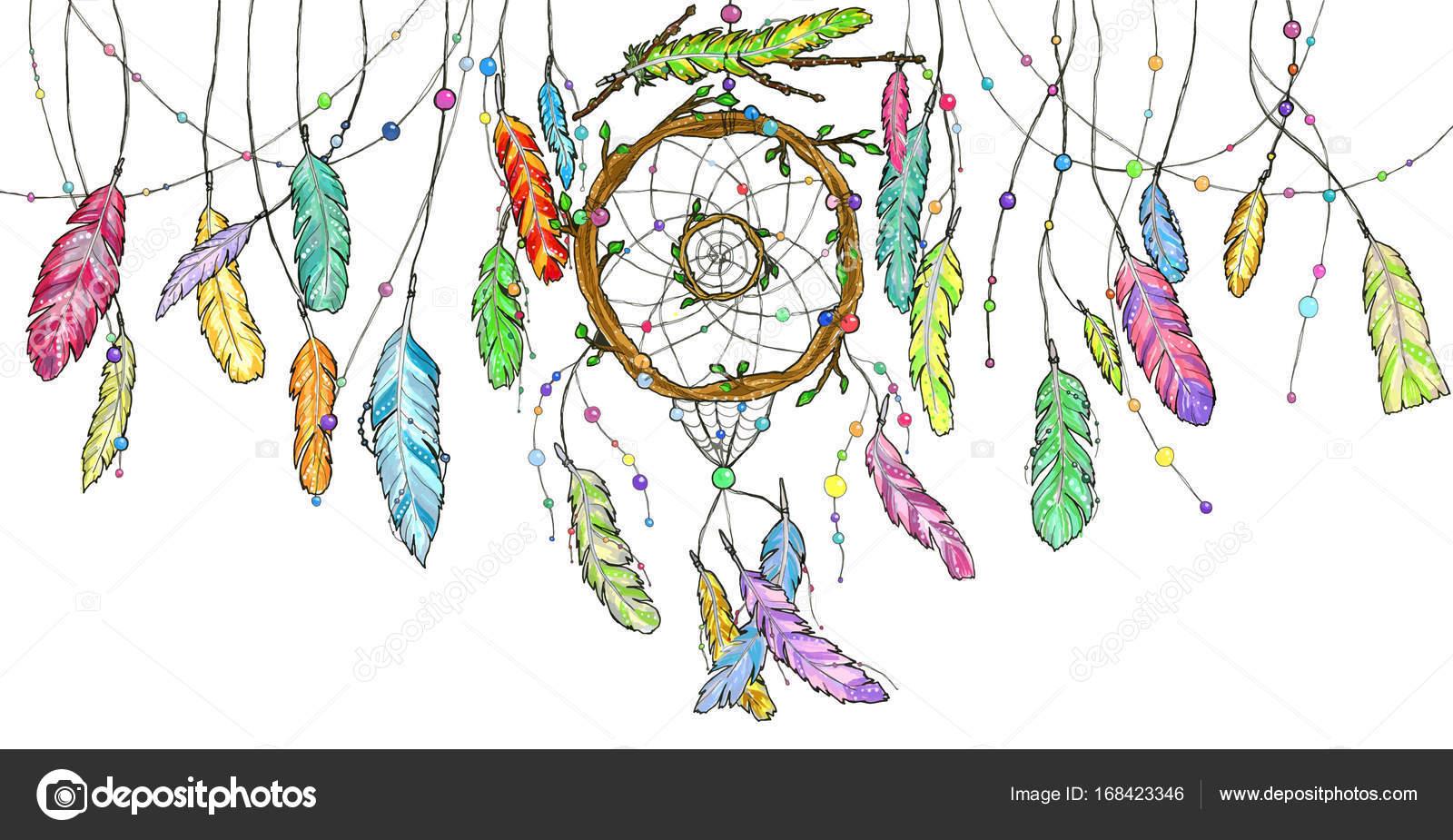 łapacz Snów Akwarela Z Jasne Kolorowe Pióra Wahadłowe