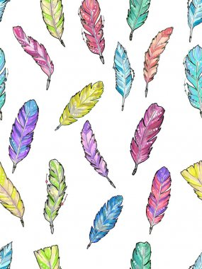 Seamless pattern with watercolor feathers.