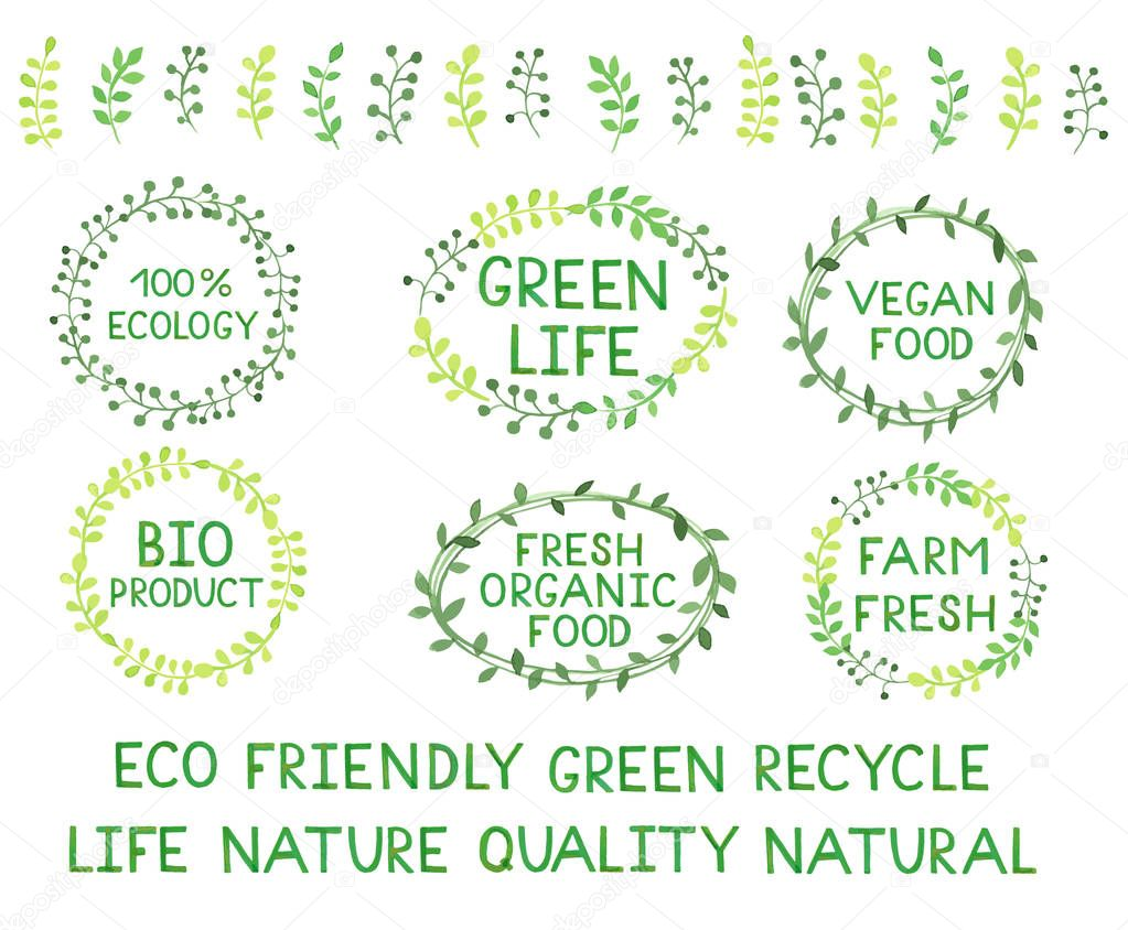Set of watercolor green logos. Leaves, frames, lettering, badges