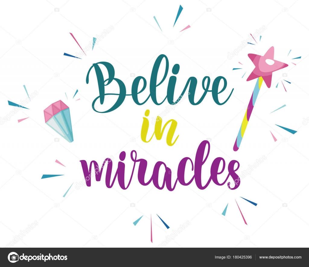 信じる奇跡スローガン デザイン ストックベクター Happiestsim