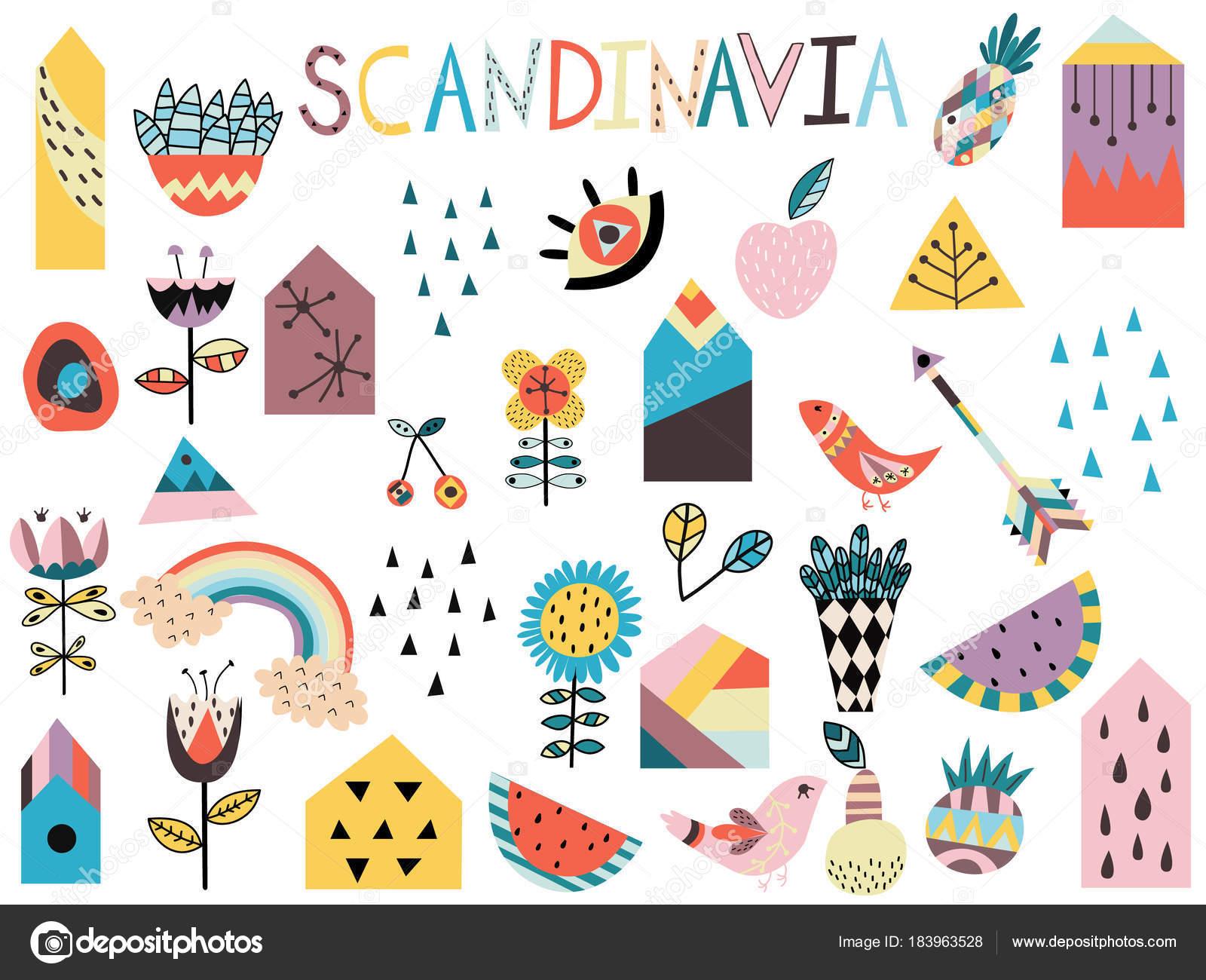 かわいい北欧スタイルの要素のセットです 手描きの背景イラスト