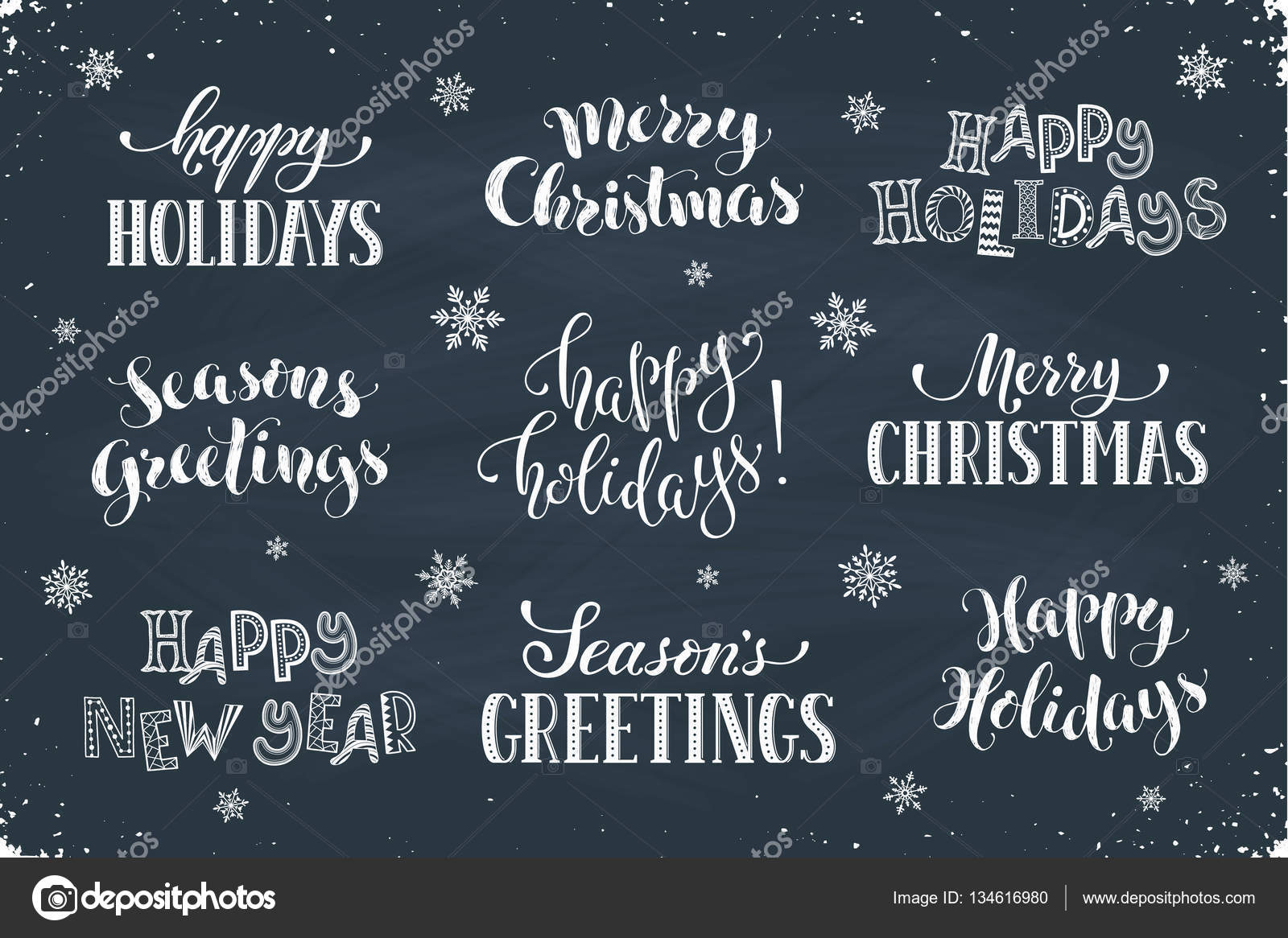 Happy holidays phrases stock vector ollymolly 134616980 greeting card text template with snowflakes drawn on chalkboard happy holidays lettering in modern calligraphy style merry christmas and seasons greetings kristyandbryce Choice Image