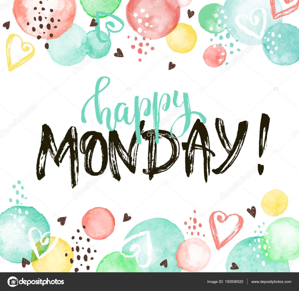 Happy monday card stock vector ollymolly 150936520 happy monday text hand drawn with dry brush bright and modern ink lettering for posters and greeting cards design inspirational phrase with watercolor m4hsunfo Image collections