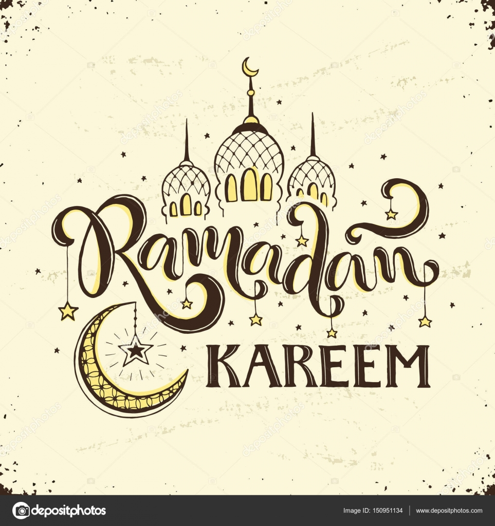 Ramadan Kareem Hand Drawn Calligraphy Isolated On White Background Islam 9th Month Symbols Mosque Dome Crescent And Stars With Wording In Sketch
