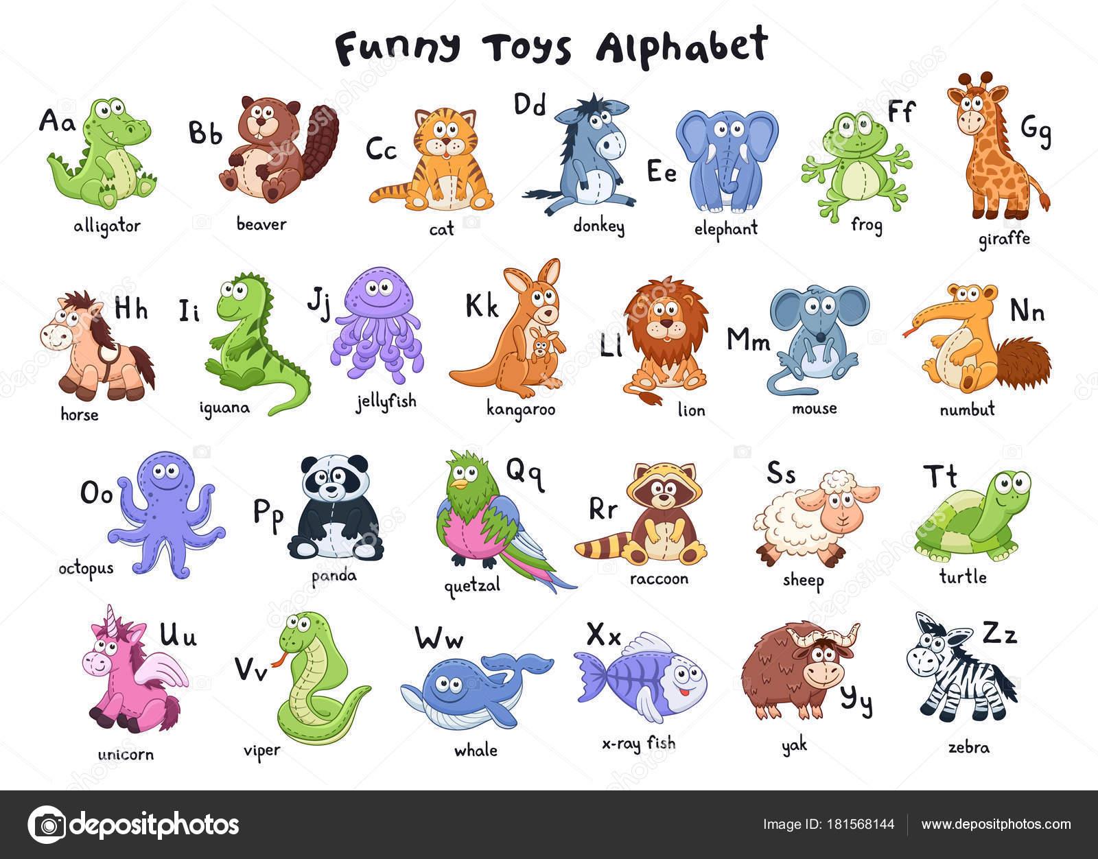 Zoológico De Animais Bebê Dos Desenhos Animados Vetor: Alfabeto De Animais Dos Desenhos Animados
