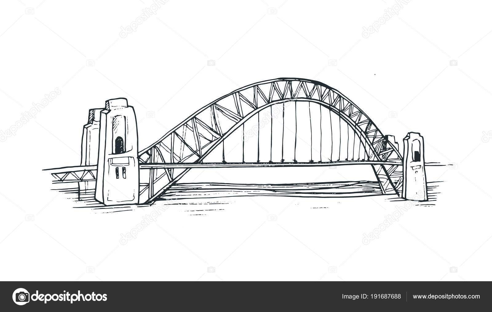 Sydney Harbour Bridge Stock Vector Ollymolly 191687688 Cantilever Diagram Related Keywords Illustration Isolated On White Backgroud Hand Drawn Famous Australian In Sketch Style By