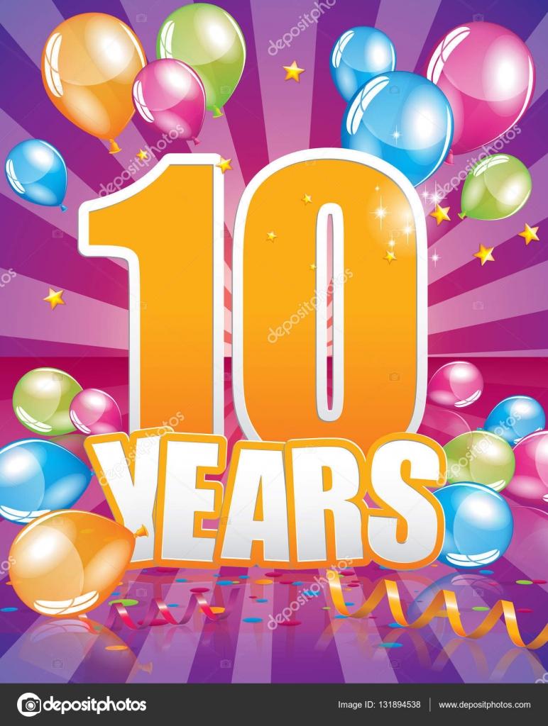 Carte D Anniversaire 10 Ans Image Vectorielle Orkidia