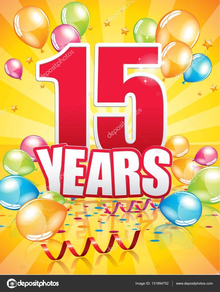 verjaardagskaart 15 jaar 15 jaar verjaardagskaart — Stockvector © Orkidia #131894752 verjaardagskaart 15 jaar