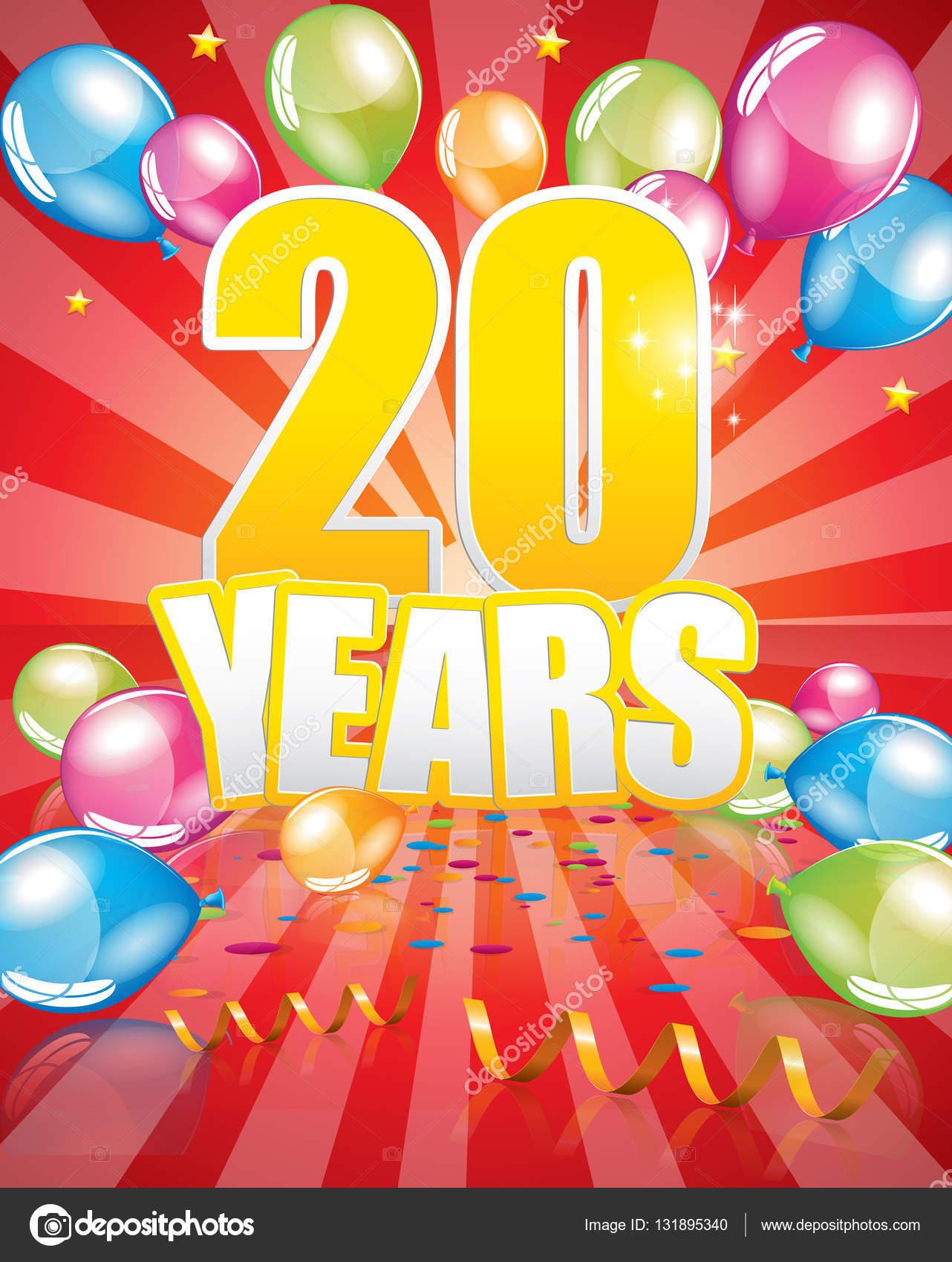 carte d anniversaire 20 ans image vectorielle orkidia 131895340. Black Bedroom Furniture Sets. Home Design Ideas