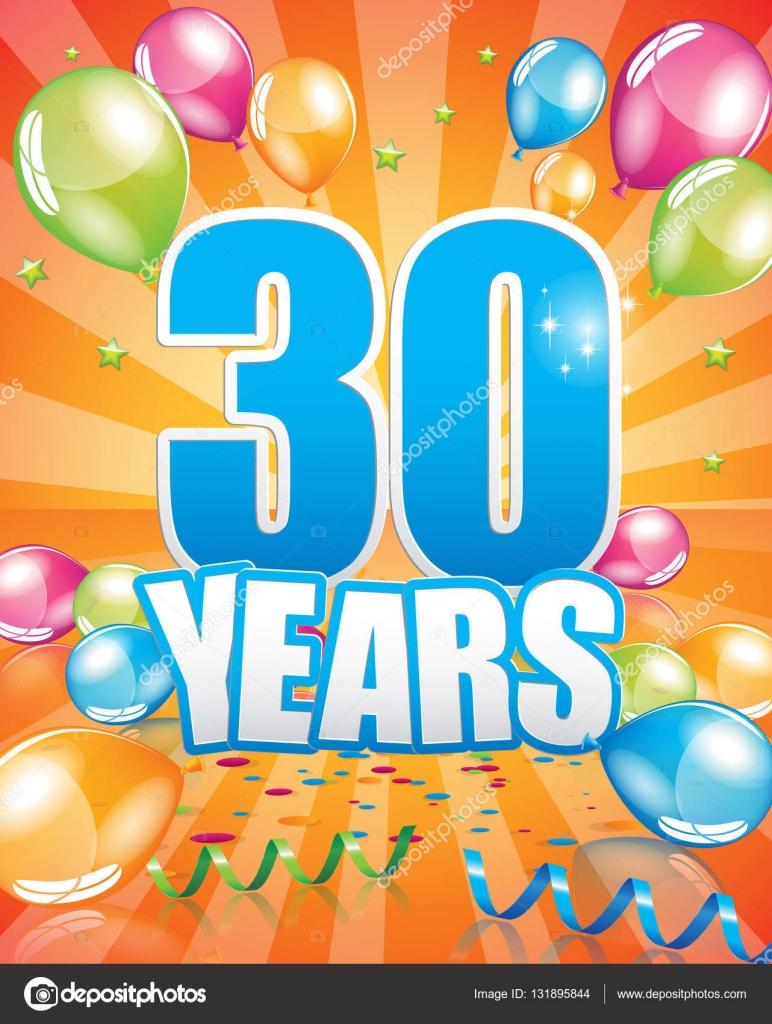 födelsedagskort 30 år 30 års födelsedagskort — Stock Vektor © Orkidia #131895844 födelsedagskort 30 år