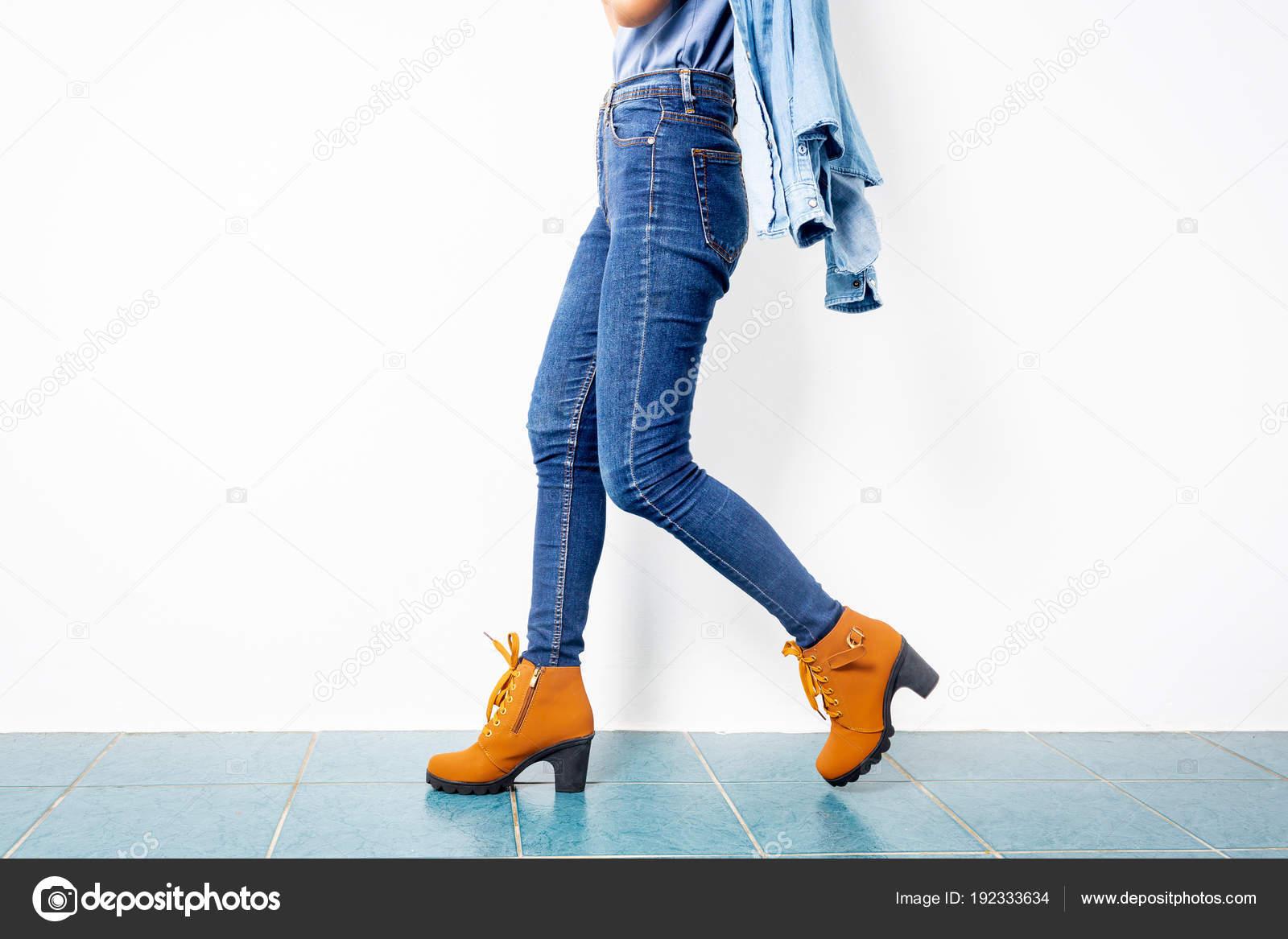 Niña Blanco Azul Marrón De Tacones Moda AsiaticaZapatos Jeans trdQCsxh