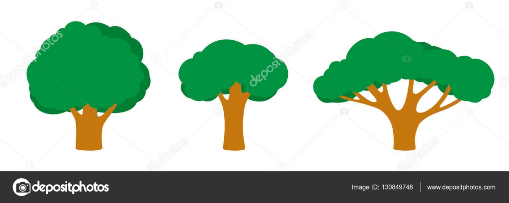set of trees of different shapes and sizes with a dark green