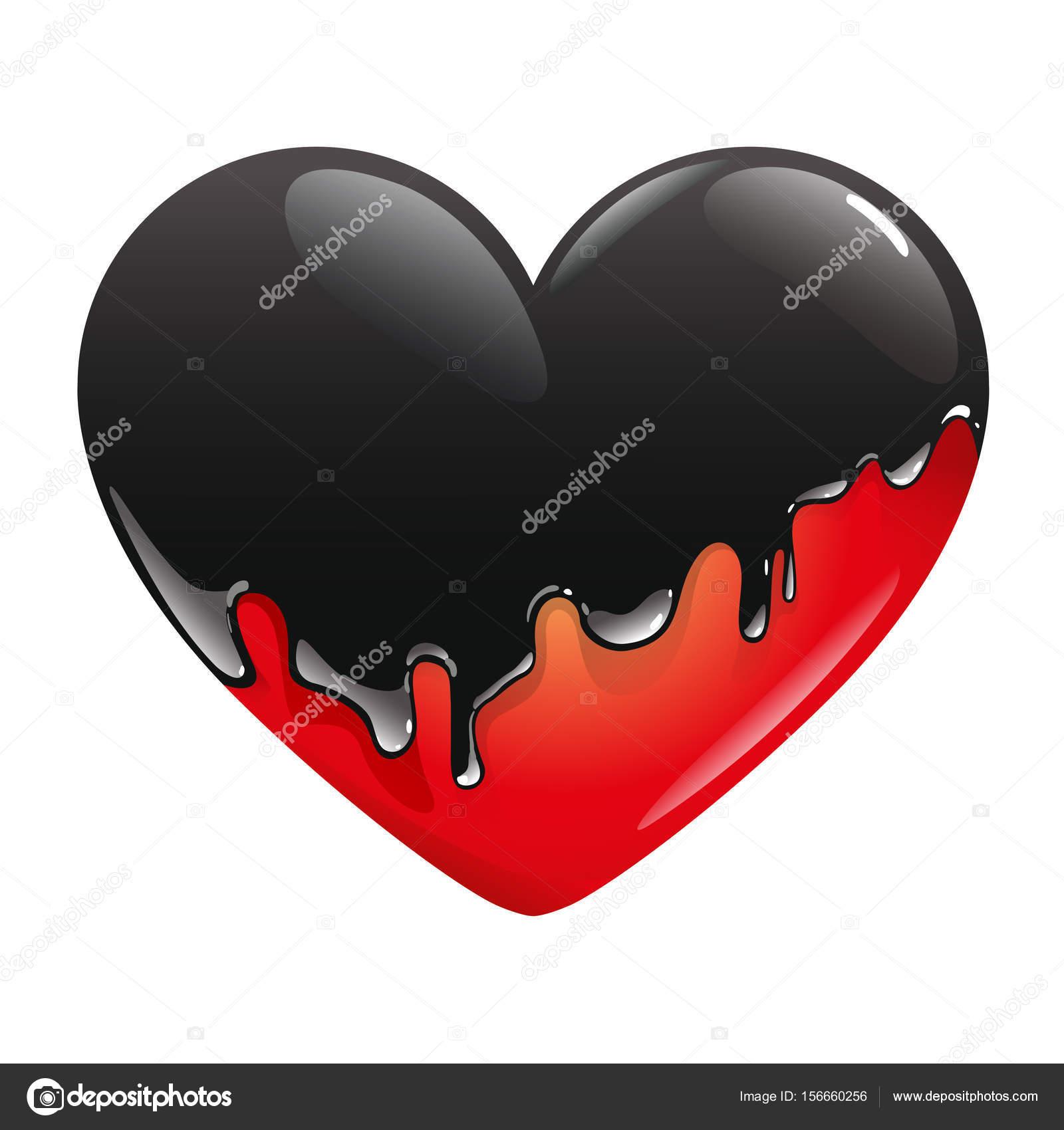 El corazón rojo es pintura negra inundada, que drena sobre él y ...