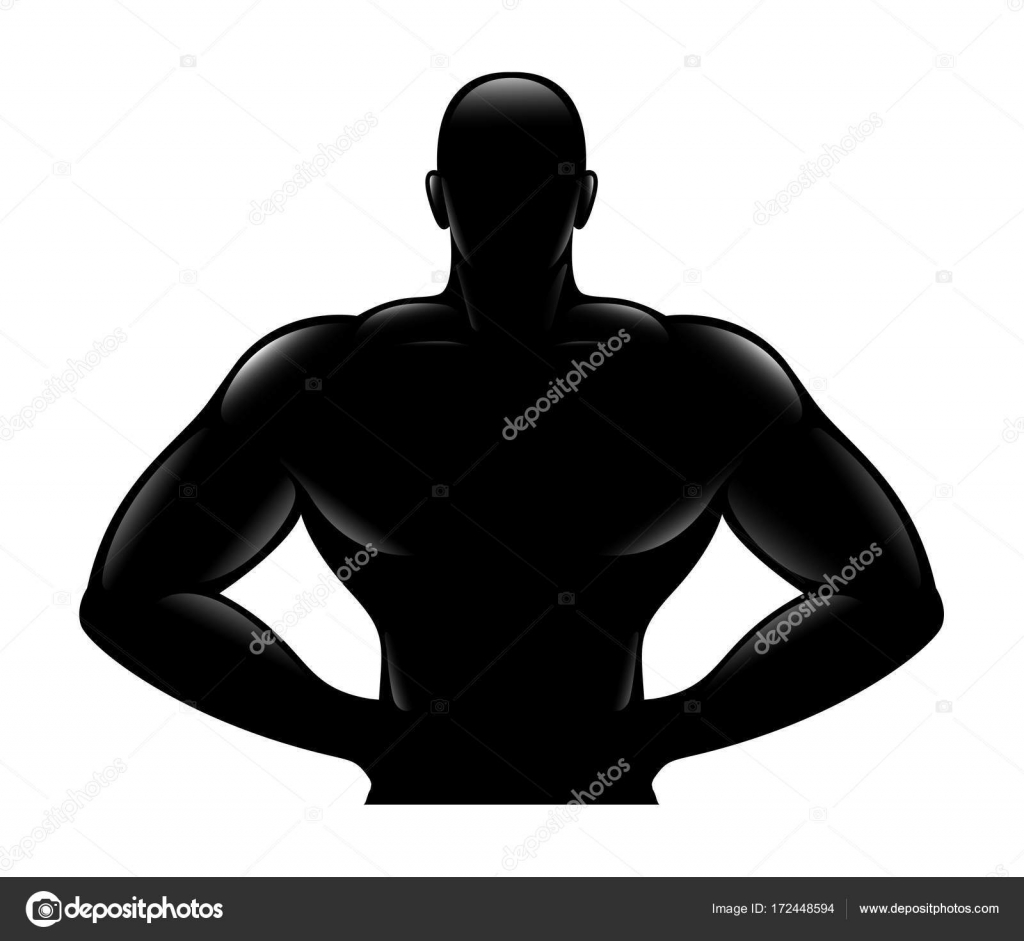 Black Silhouette Of Strong Muscular Sports Man Bodybuilder Standing With Hands On Hips Body Naked Torso Fitness