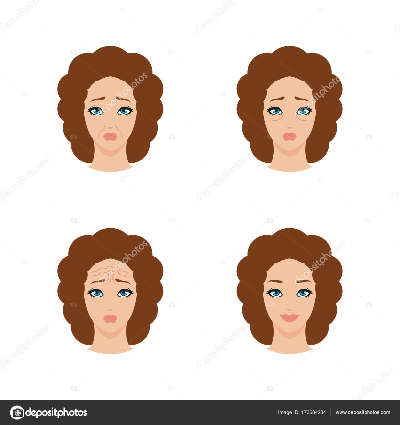 Icons Set Of Mature Woman Face With Different Types Of Wrinkles