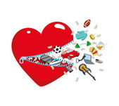 Photo Open Heart with a zipper from which fly the symbols of a mans wish, hobbies. Gifts, Luxury presents, men Concept for Valentines Day, Christmas, greeting cards, sales and shopping. Yacht, car, bills in a flat style. Isolated vector
