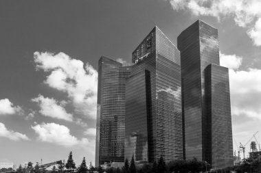 "Картина, постер, плакат, фотообои ""Singapore business district skyscrapers black and white"", артикул 126120430"