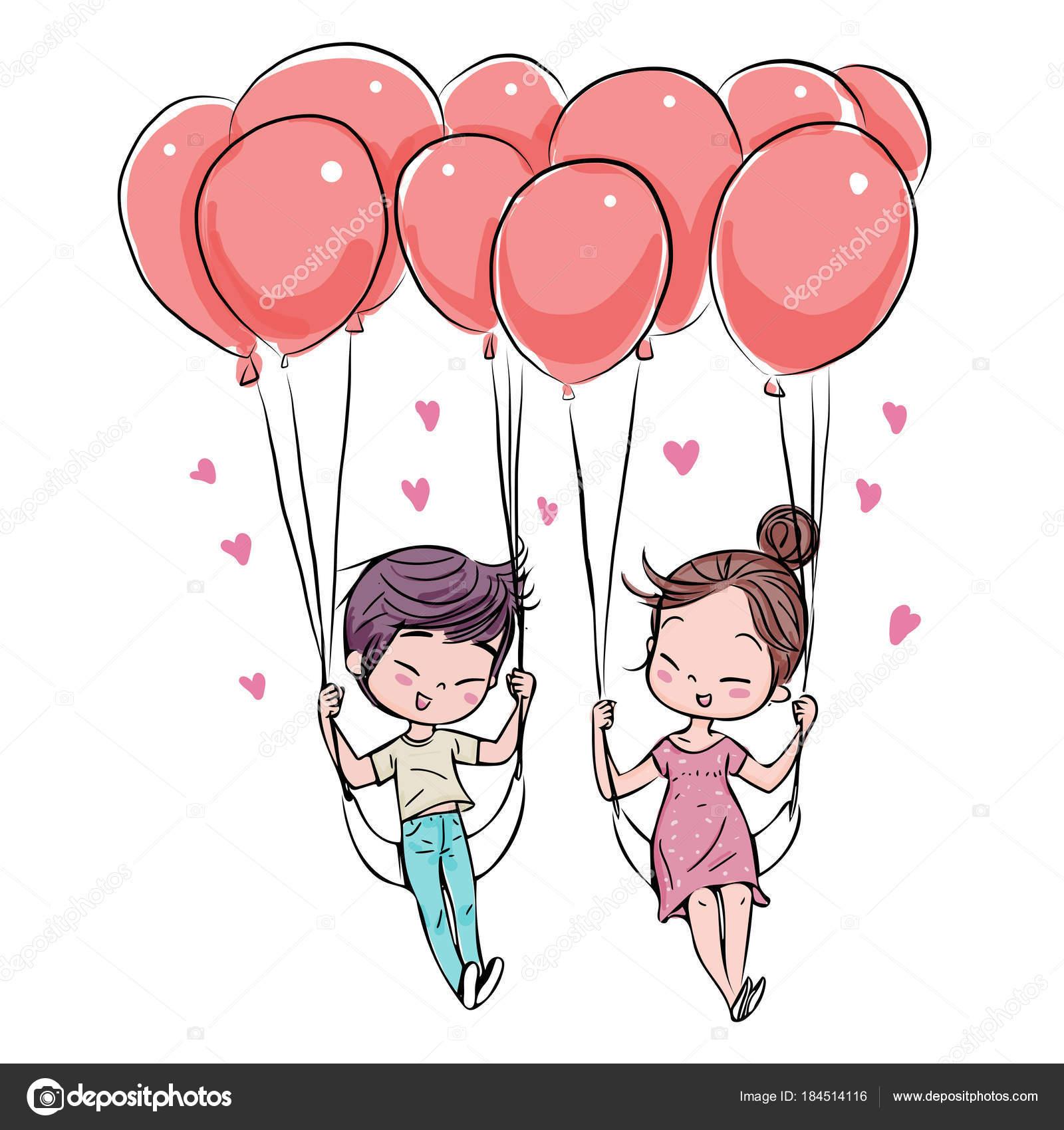 Casal Bonito Amor Dia Dos Namorados Mão Ilustração