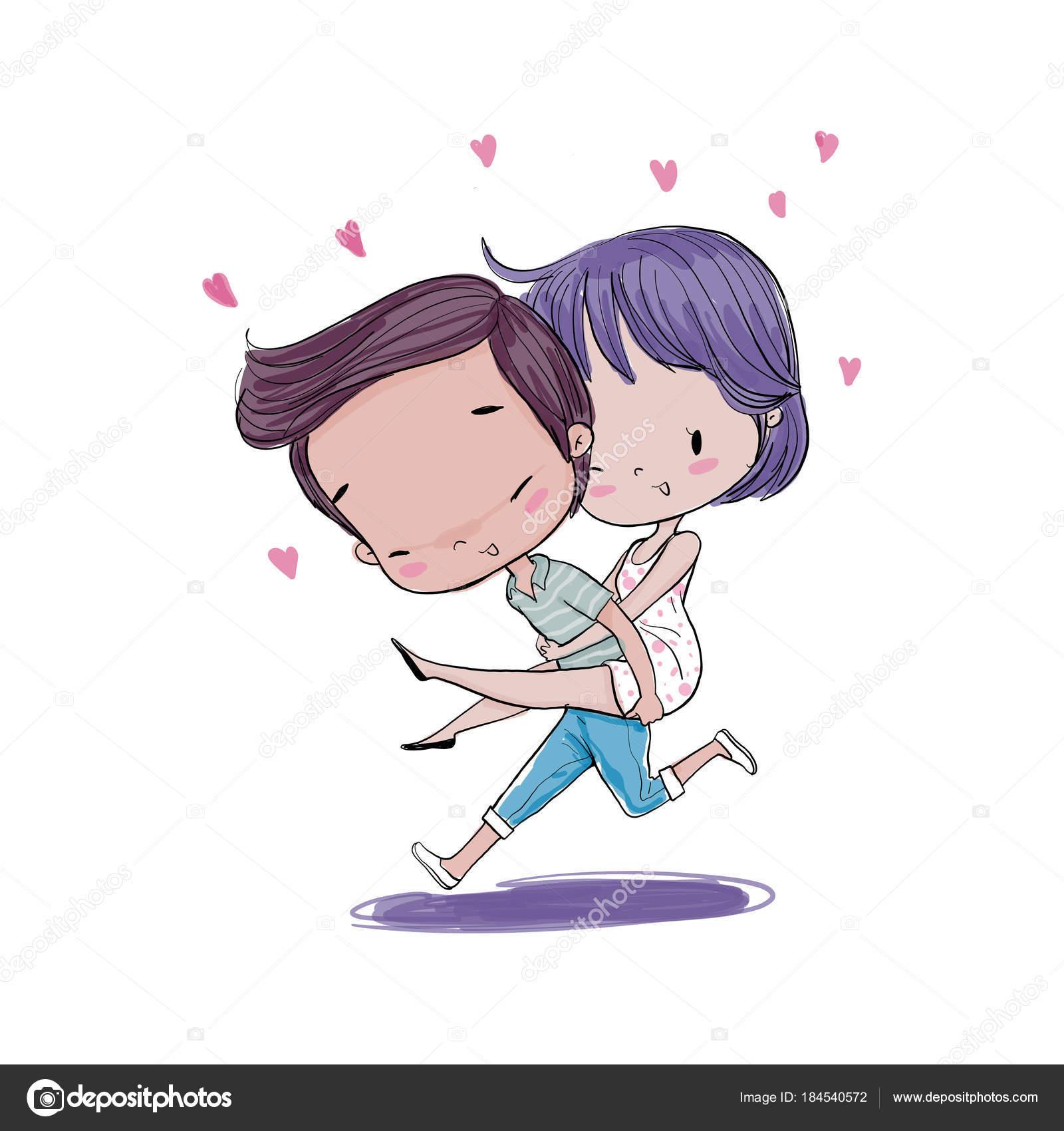 恋バレンタインの日 ベクトル イラスト手描きのかわいいカップル