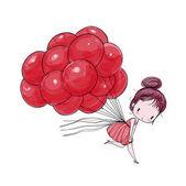 Fotografie Niedliche Mädchen fliegen auf Ballons vor dem Hintergrund eines weißen. Vektor-Illustration Handzeichnung