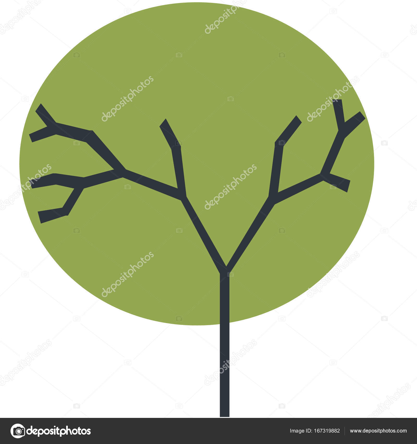 The silhouette of a tree with a trunk and branches with abstract ...