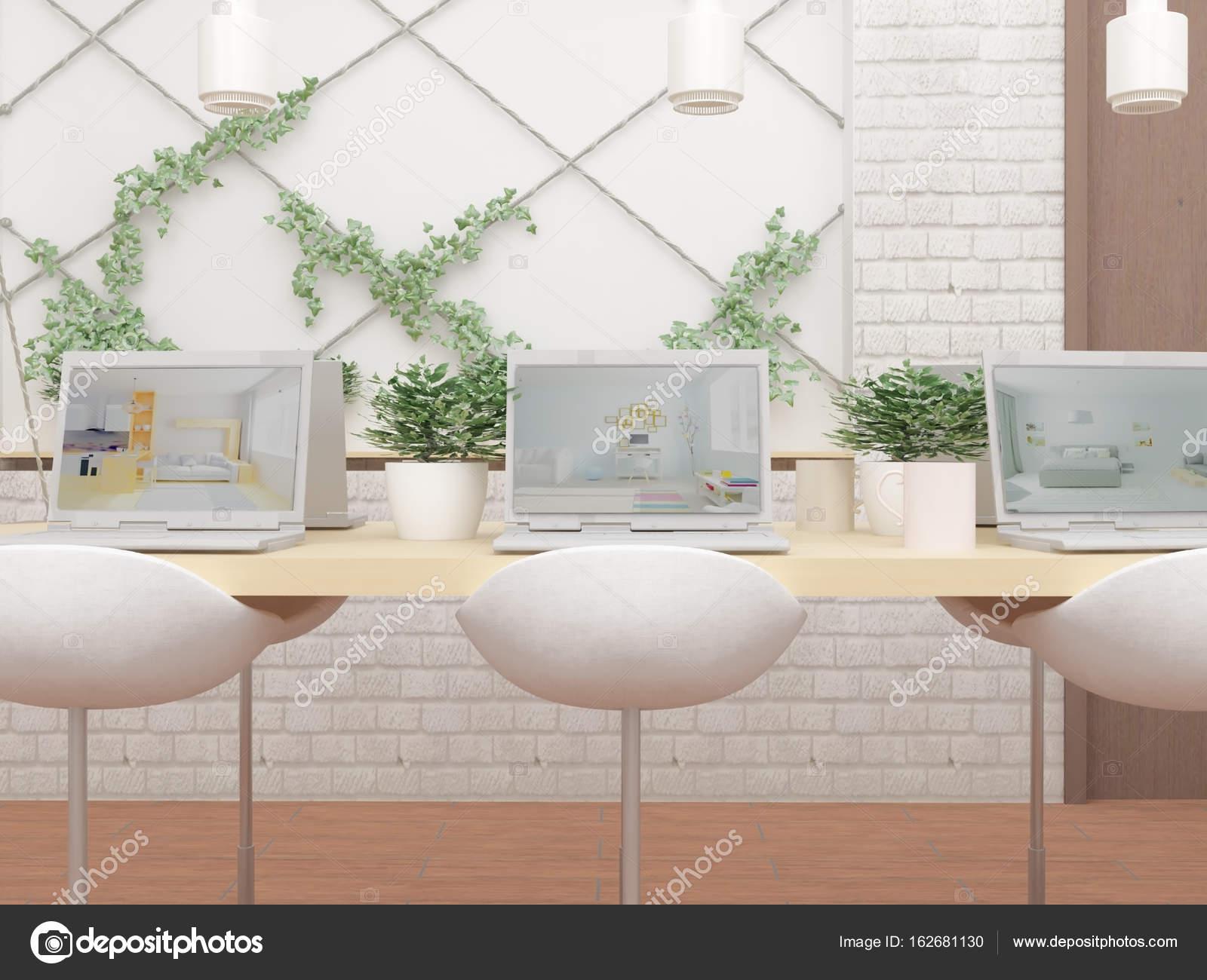 Computers op de tuinset groene planten u stockfoto lisunova