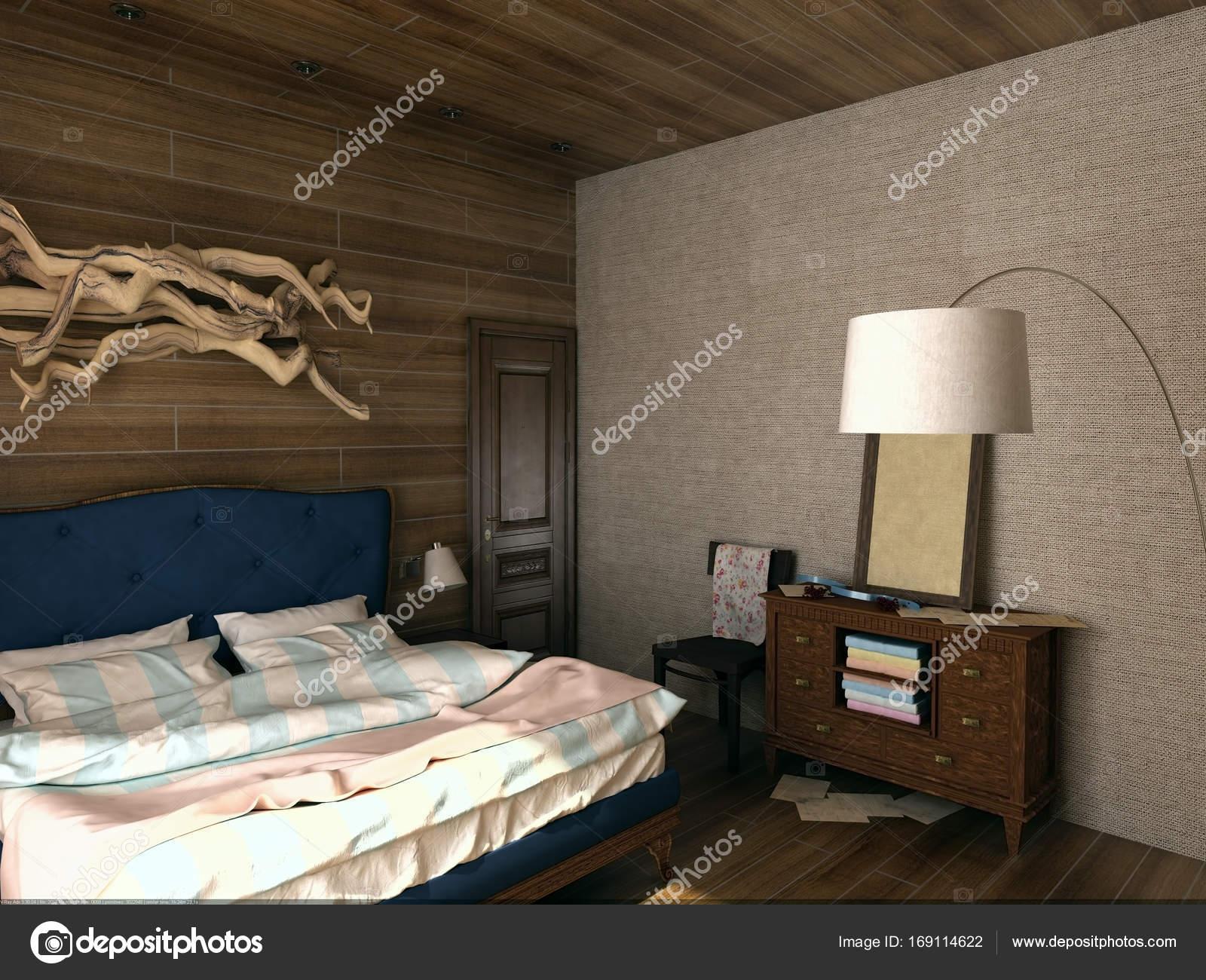 Interno camera da letto in stile vintage in legno — Foto ...