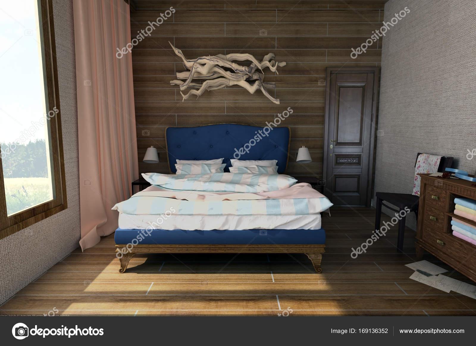 Letti Stile Vintage : Interno camera da letto in stile vintage in legno u foto stock