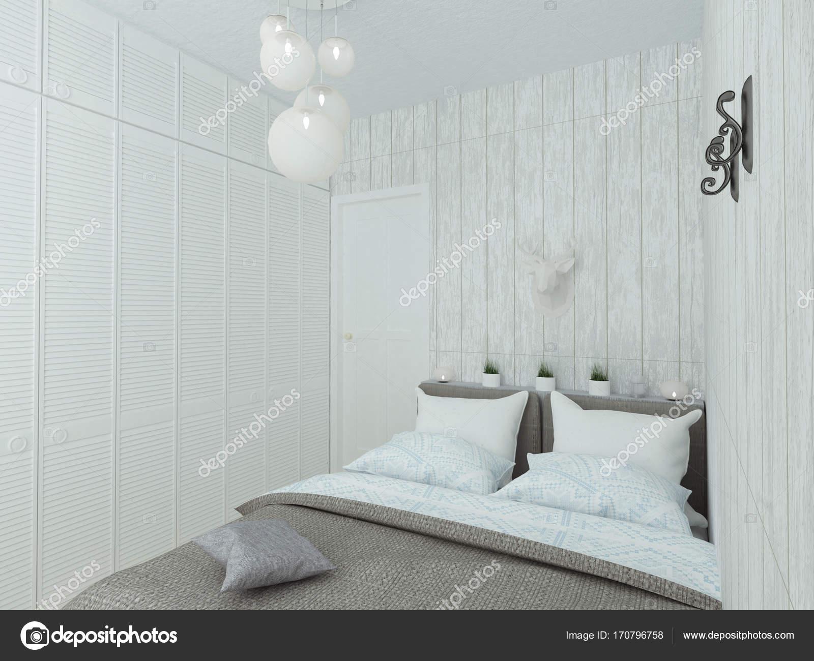 Camera Da Letto Bianco : Camera da letto vuota con letto bianco u foto stock lisunova