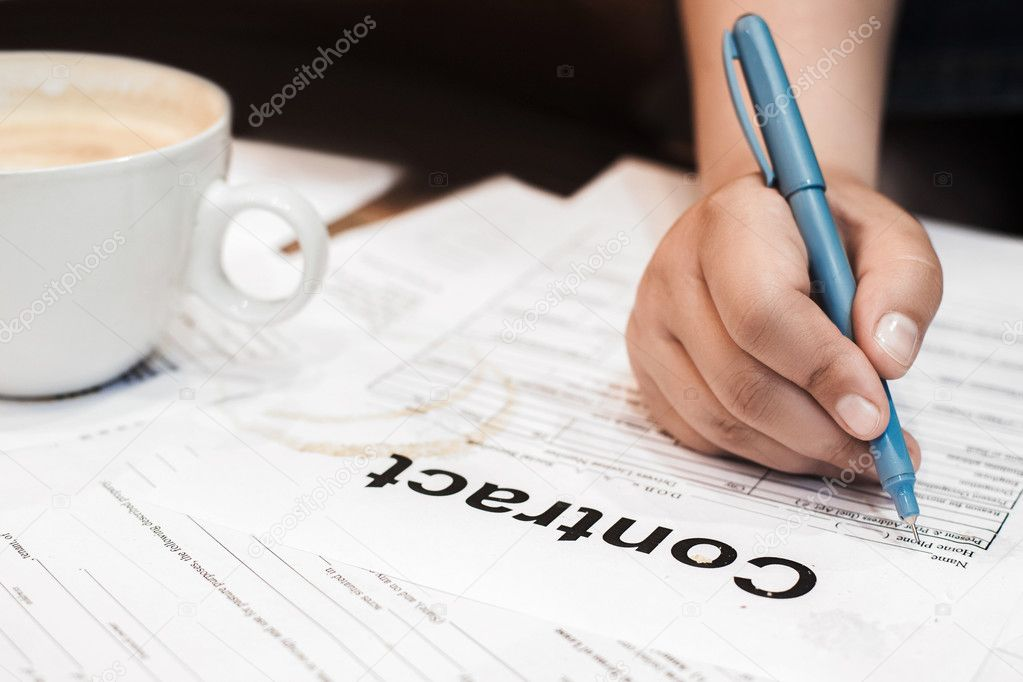 Hand Signing Dirty Contract Papers Stock Photo Golubovy 128766384
