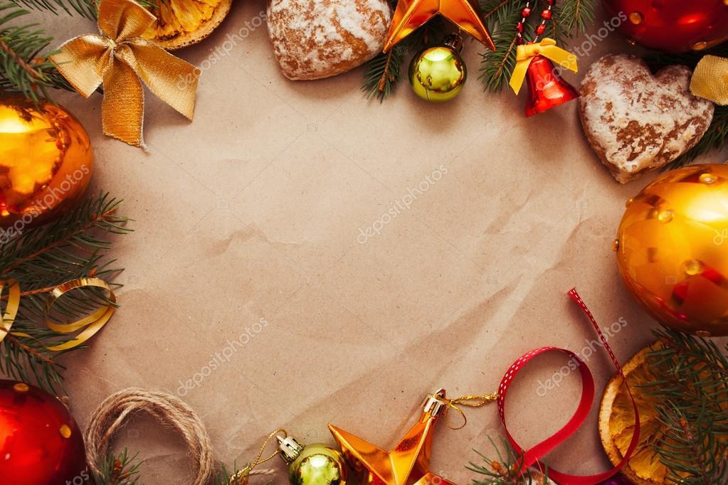 Marco de decoración de Navidad en papel, libre el espacio — Foto de ...