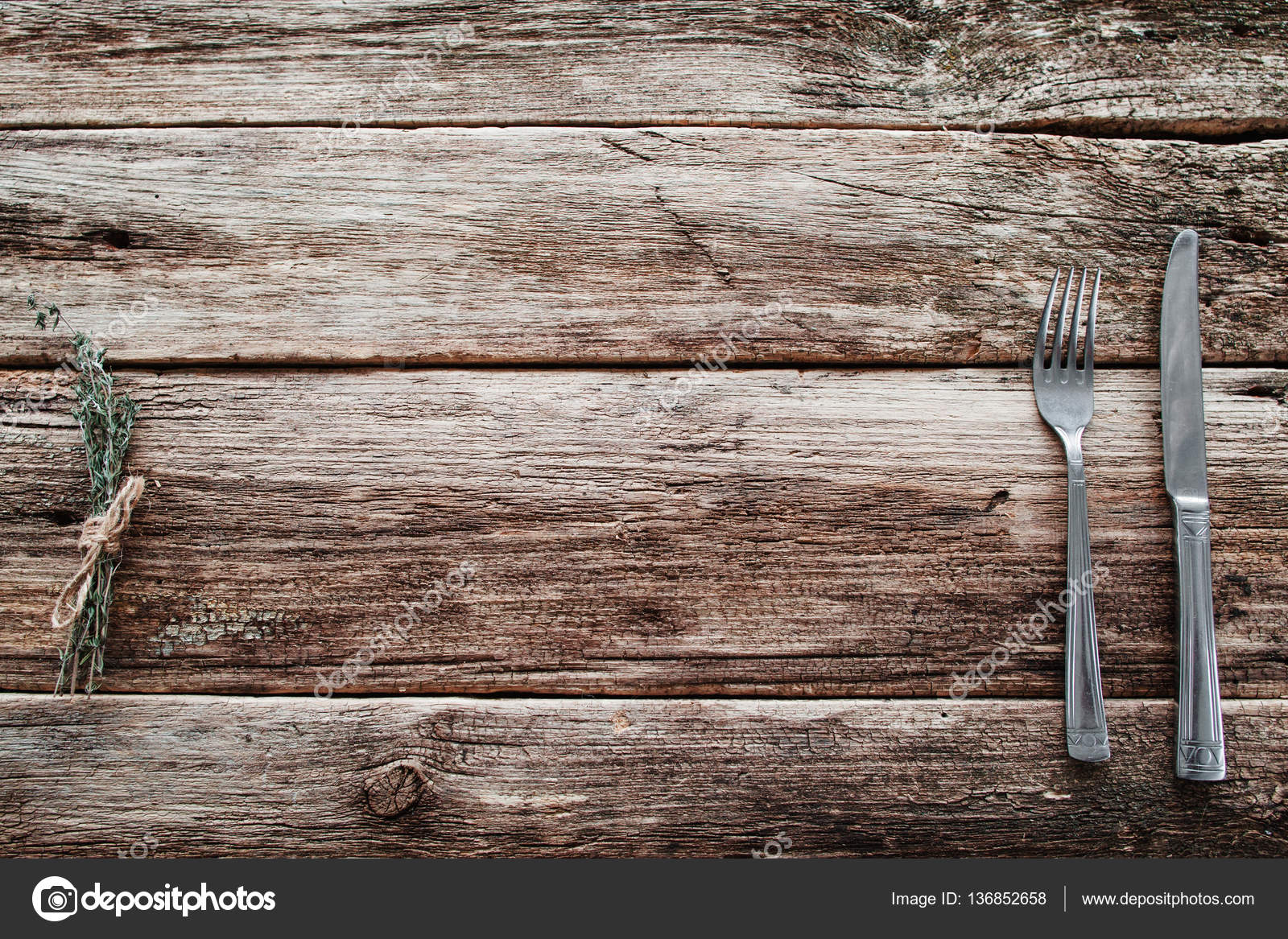 Rustic Wooden Table With Knife And Fork Free Space U2014 Stock Photo
